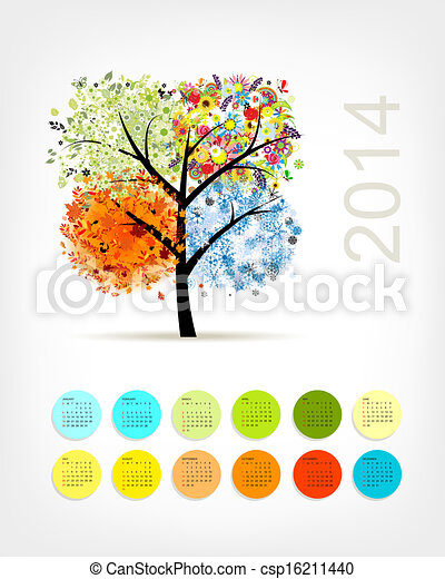 Calendar 2014 with four season tree for your design - csp16211440