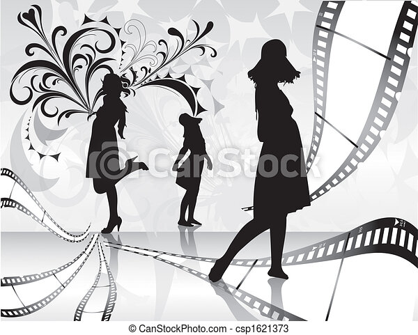 Film rolls with women silhouette and floral background - csp1621373
