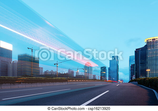 The city and the road at night - csp16213920