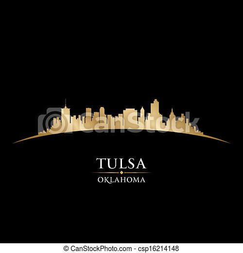 Tulsa Oklahoma city skyline silhouette black background  - csp16214148