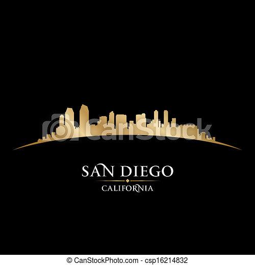 Vectors Of San Diego California City Skyline Silhouette