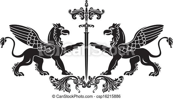 Griffin with sword stencil. vector  - csp16215886