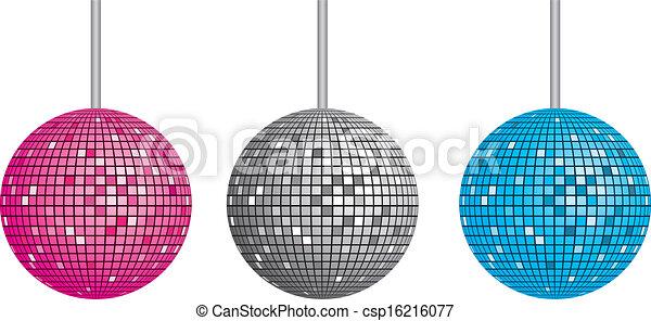 Vectors Illustration of Isolated disco ball set csp16216077 ...
