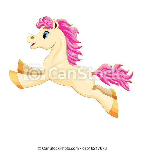 small white pony with a pink mane and tail - csp16217678