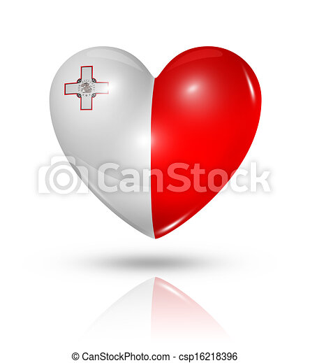 Love Malta, heart flag icon - csp16218396