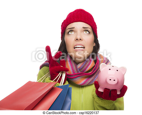 Stressed Mixed Race Woman Holding Shopping Bags and Piggybank - csp16220137