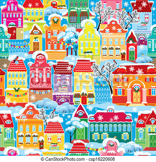 Seamless pattern with decorative colorful houses in winter time. Christmas and New Year holidays City endless background.  - csp16220608