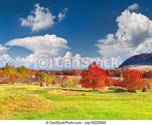 Colorful autumn landscape in the mountains - csp16220694