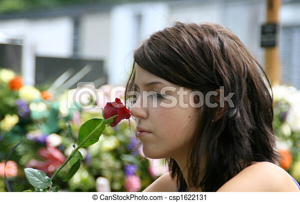 young woman at the cemetery