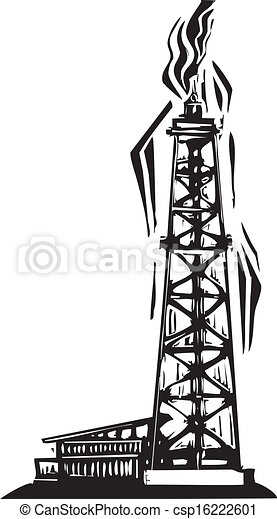 Vector Clipart of Oil Well - Woodcut Style image of an Oil ...  Vector Clipart ...