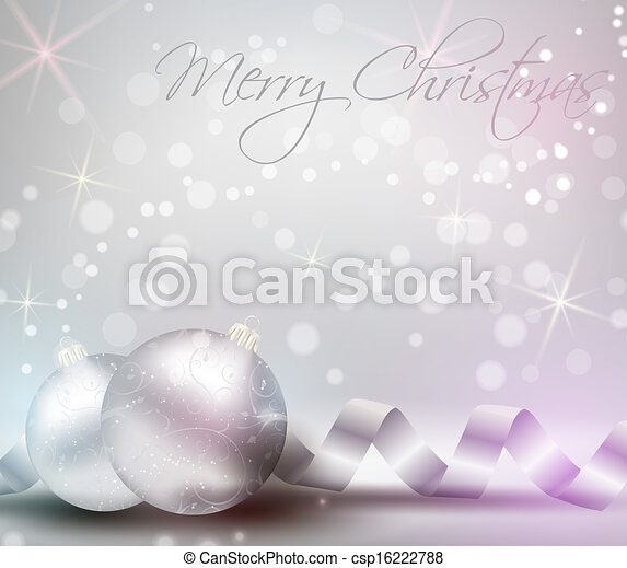 Christmas background with ribbons and shiny christmas baubles - csp16222788