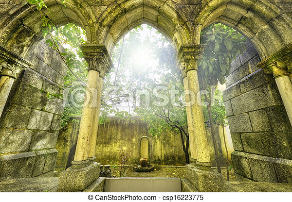 Ancient gothic arches in the myst. Fantasy landscape in Evora, Portugal. - csp16223775