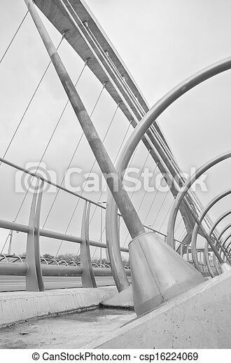 ZARAGOZA ,SPAIN-16 MAY :  detail of bridge of the third millenium in Zaragoza on 16, May 2013. this bridge is one of the newest bridges over the Ebro river, in Zaragoza. Was built in 2008 for the inte - csp16224069