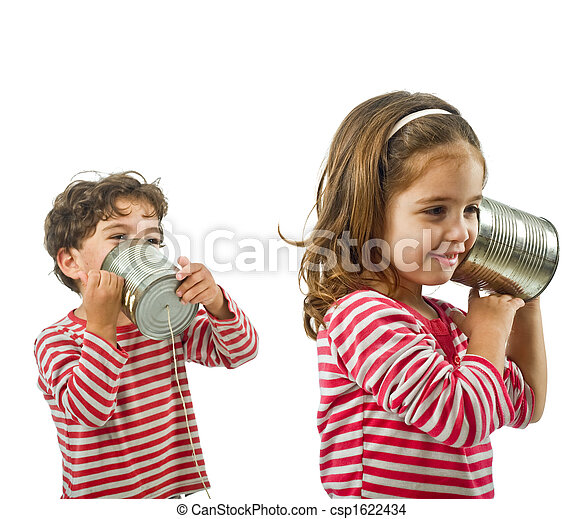 two kids talking on a tin phone - csp1622434