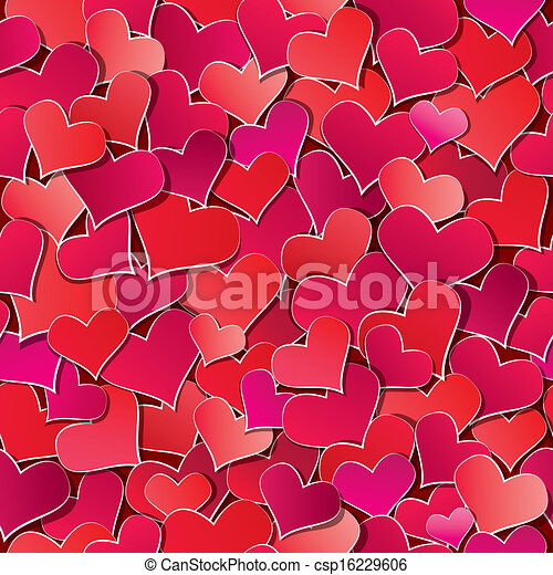 Seamless pattern with Red hearts confetti. Valentine's day or Wedding background. - csp16229606