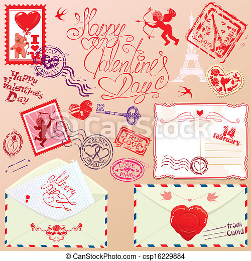 Collection of love mail design elements - stamps, envelops, postcard - Valentine`s Day or Wedding postage set. - csp16229884
