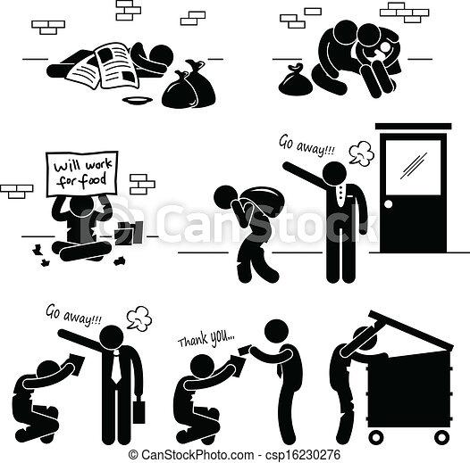 Homeless Black Man Clipart Homeless man family beggar