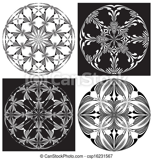 Set Of Rose Windows - Royalty Free Vector Clipart - csp16231567