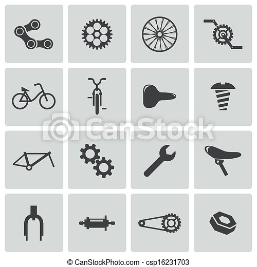 Vector black bicycle part icons set - csp16231703