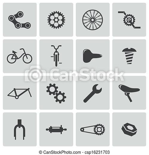 Vector black bicycle part icons set - csp16231703
