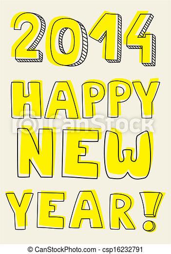 Happy New Year 2014 hand drawn wish - csp16232791