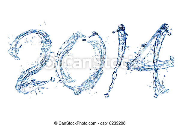 Happy New Year 2014 by water drop - csp16233208