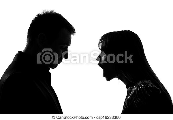 one couple man and woman screaming shouting dispute - csp16233380
