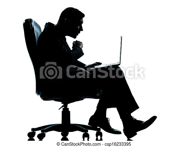 one caucasian business man computer computing surprised sitting in armchair silhouette Full length in studio isolated on white background - csp16233395