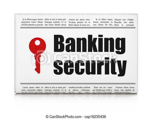 Privacy news concept: newspaper with Banking Security and Key - csp16235436