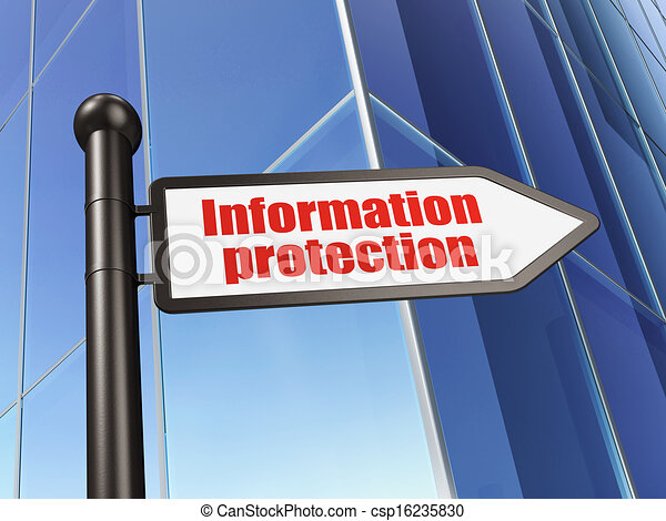 Protection concept: Information Protection on Building background, 3d render - csp16235830