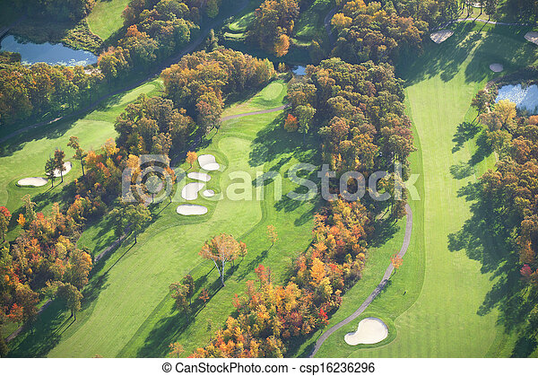 Aerial view of golf course in autumn - csp16236296