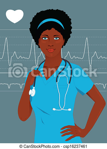 clip art vector of doctor or nurse with a heart monito Patient Clip Art Nurse Clip Art