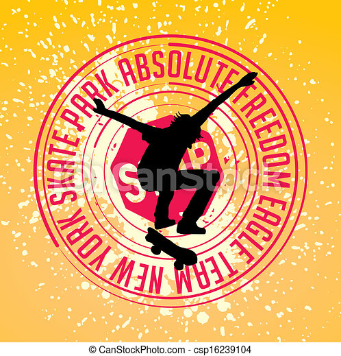 Vector Clipart of street sports skateboarding vector art