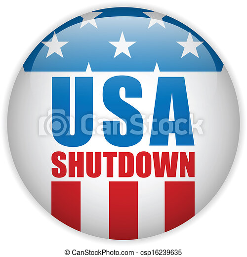 United States Shutdown Government Button - csp16239635