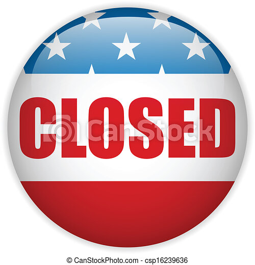 United States Shutdown Government Button - csp16239636
