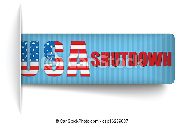 Government Shutdown USA Closed Banners. - csp16239637