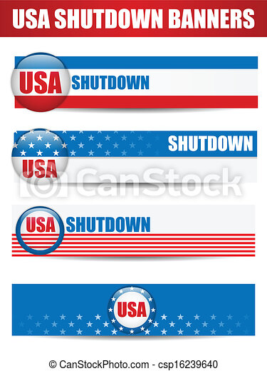 Government Shutdown USA Closed Banners. - csp16239640