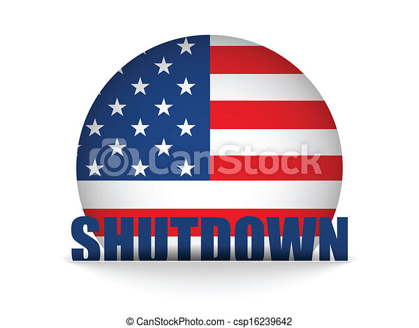 United States Shutdown Government Button - csp16239642