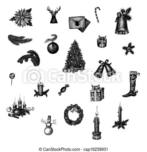 Big set of hand drawn ink Christmas symbols. Raster collection for your design - csp16239931