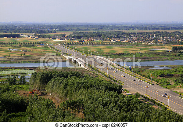 Bridges and fields in the beautiful summer  - csp16240057