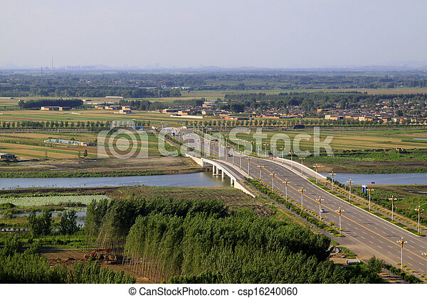 Bridges and fields in the beautiful summer  - csp16240060