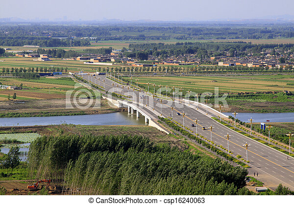 Bridges and fields in the beautiful summer - csp16240063