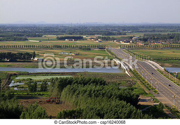 Bridges and fields in the beautiful summer  - csp16240068