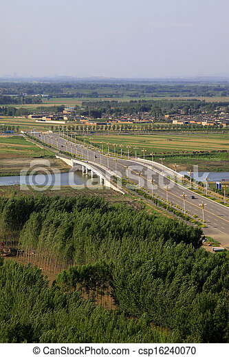 Bridges and fields in the beautiful summer - csp16240070