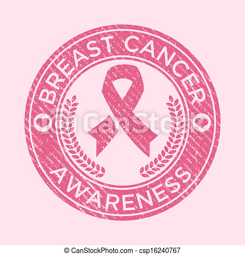 Clip Art Vector of Breast Cancer Awareness Rubber Stam - Pink ribbon ...