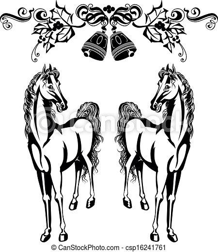 Clip Art Vector of Christmas ornament and horses csp16241761 ...