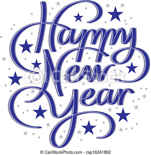 Vector - happy new year hand lettering - stock illustration, royalty ...
