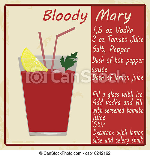 Clip Art Vector of Bloody Mary cocktail on vintage poster, vector ...