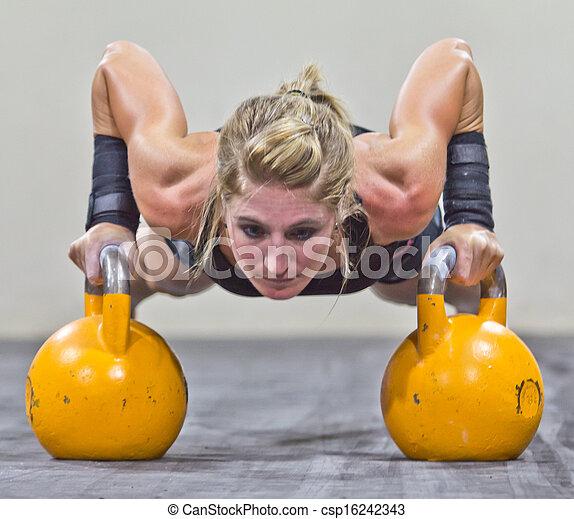 Model Kettlebell gym training - csp16242343