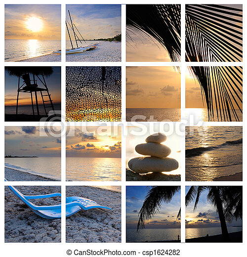 Tropical sunset beach collage - csp1624282